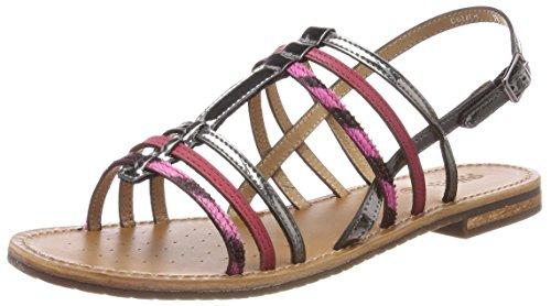 Geox Womens D Sozy H Open Toe Sandals, Grey (Gun/Dk Fuchsia), 3.5 UK