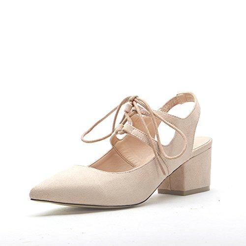 summer Korean style chunky talons chaussures de Rome/Chaussures pointues avec des bandages à baotou