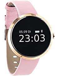 X-WATCH SIONA XW FIT – Light Rose Gold Damen Smartwatch – Fitness Armband – Activity Tracker für Android und iOS