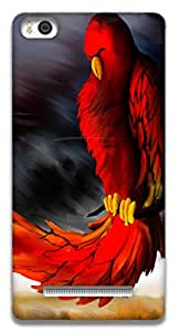 The Racoon Grip printed designer hard back mobile phone case cover for Xiaomi Mi4i. (Red Parrot)
