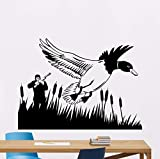 YANCONG Wall Sticker Hunting Wall Decal Hunter Gun Duck PVC Home Living Room Art Decor Hunter with Duck Animal Wall Art Mural 42X31Cm