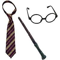 GrassVillage Wizard School Boy Fancy Dress Tie Glasses Wand Set Magician Outfit Book Week