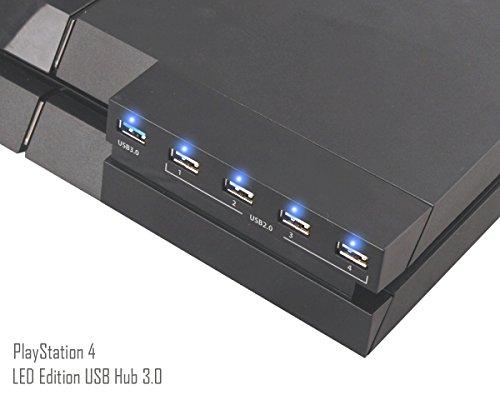 [New Edition] PS4 USB Hub Adaptateur - ElecGear 3.0 5-port Extender Adapter et Indicateur LED Splitter Controller Chargeur pour PlayStation 4