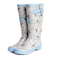 viz-uk wear Ladies Bird Print Matt Festival,Rain,Snow Wellies Slip On Wellington Boots Sizes 4 to 8