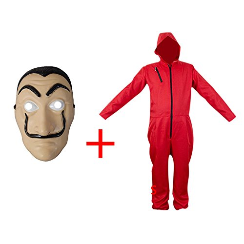 (Unisex La Casa De Pape Maske Cosplay Bekleidung Pullover Kostüme Body Suit Rot Anzug Halloween Overall Jumpsuit (Overall+Maske, Small))