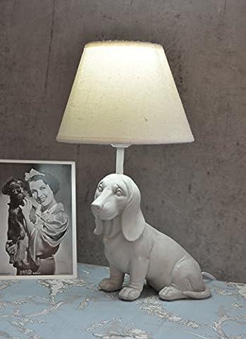 Figürliche Tischlampe Dackel Lampe im Landhausstil Tischleuchte Weiss Palazzo Exclusiv