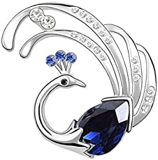 B-fashionable Blue Metal Peacock Brooch for Men and Women