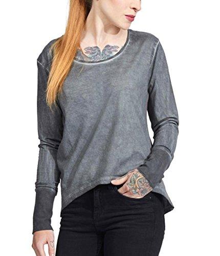 trueprodigy Casual Damen Marken Long Sleeve einfarbig Basic, Oberteil cool und stylisch mit Rundhals Ausschnitt (Langarm & Slim Fit), Top für Frauen in Farbe: Anthra 1063170-0403-S