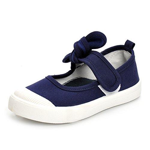 ESTAMICO Kleinkind Mädchen Beiläufige Segeltuch Gummisohle Turnschuhe Wenig Scherzt Schuhe Marine Blau Größe 28 (Schuhe Kleinkind Blau Marine)