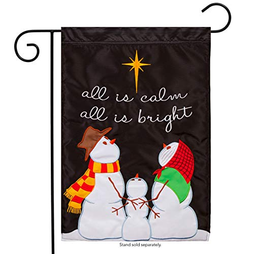 CHKWYN s 66040 Flag-C-Garden-All is Bright-Snowmen-Applique for Party Outdoor Home Decor Size: 12.5-inches W X 18-inches H Side Drape Applique