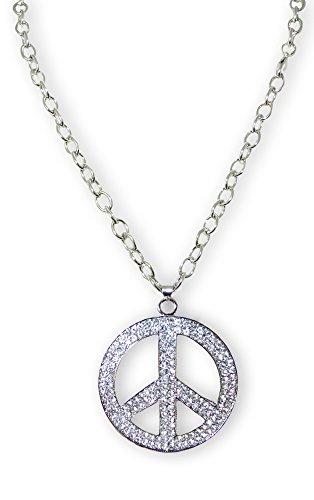 Halskette mit XL Strass Peace Anhänger - Toller Schmuck zum Hippie Kostüm oder Musik Festival (Musik Kostüm)