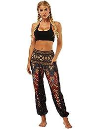 OYABEAUTYE Mujer Harem Hippy Pantaloni Cintura Elástica bonzaai Pantalones a6e0c37f4c34