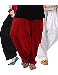 Kalpit Creations Women's Cotton Patiala Salwar Combo (Black,Maroon and White Free Size)