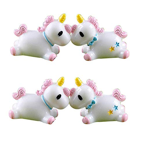 Figura decorativa de unicornio de resina, 4 unidades, diseño de unicornio