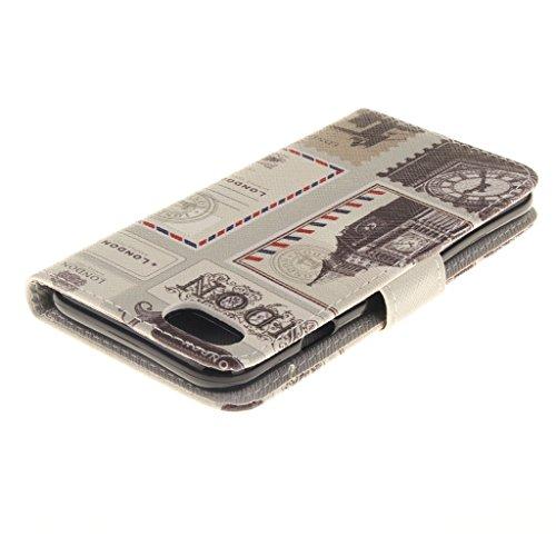 CareyNoce Apple iphone 7 Plus Coque,Flip Housse Etui Cuir PU Coque pour Apple iPhone 7 Plus (5.5 pouces) -- Léopard #1 T11