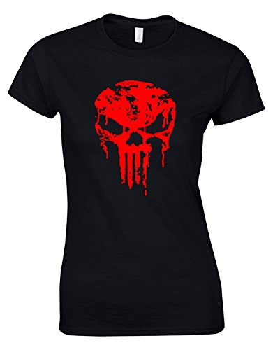 Designs by The Crown Dripping Skull Emblem Super Hero Movie & Comic Book Fan Gift for Women & Teenagers Fitted T-Shirts Tops