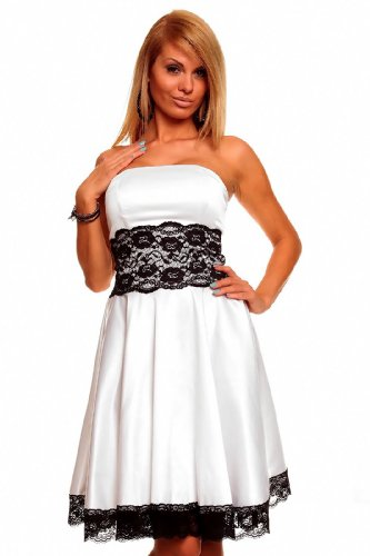 Knielanges Bandeau Kleid Satinkleid Ballkleid Abendkleid Cocktailkleid Festkleid Weiß S (34)