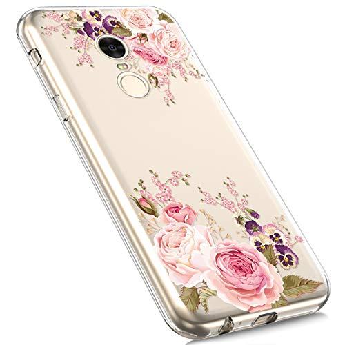 Preisvergleich Produktbild MoreChioce Xiaomi Redmi 5 Plus Hülle,Redmi 5 Plus Hülle Silikon Transparent, Cute Cartoon Weich Durchsichtig Handyhülle Dünn Soft TPU Kristall Flexible Gel Bumper für Xiaomi Redmi 5 Plus [Rote Rose]