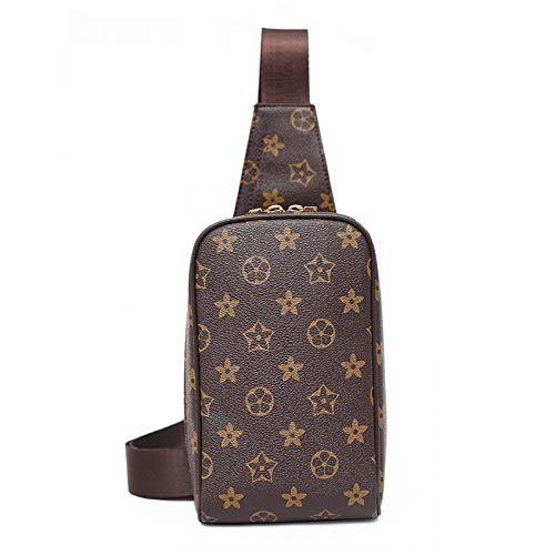 Ldyia Unisex Brusttasche Anti-Diebstahl kleine Tasche Drucktaschen Reise Anti-Diebstahl Umhängetasche, braun -