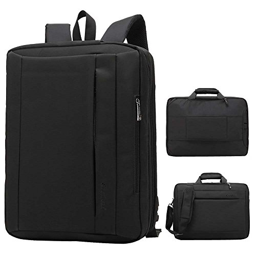 DMG Coolbell 15.6 inch Multi-Function Convertible Laptop Messenger Computer Bag Single-Shoulder Backpack Briefcase Oxford Cloth Waterproof Multi-Compartment for iPad Pro MacBook Men and Women(Black)