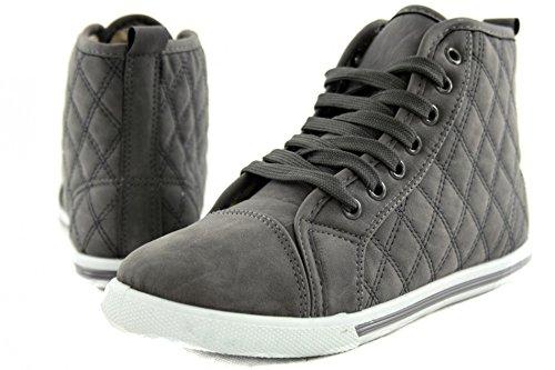 Chaussures Baskets Aspect cuir chaud Motif surpiqué Hi Top Chaussures Femme sportif z7549 Gris - Gris