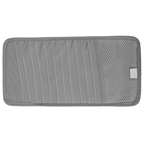 Gazechimp Tragbare Auto Sonnenblende CD Aufbewahrungs Tasche für 12 Disc CDs/DVDs - Grau (Mesh-handy-halter)