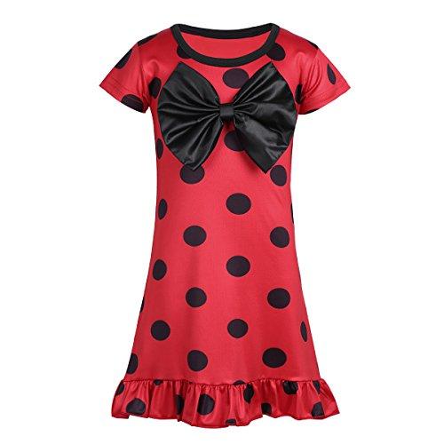 iEFiEL Mädchen Ladybug Kleid Top Tunika Marienkäfer Freizeit Kleid mit Schawarze Polka Dots Party Cosplay Verkleidung Rot 104-110 (Herstellergröße: 110) (Top 5 Halloween Kostüme Für Mädchen)