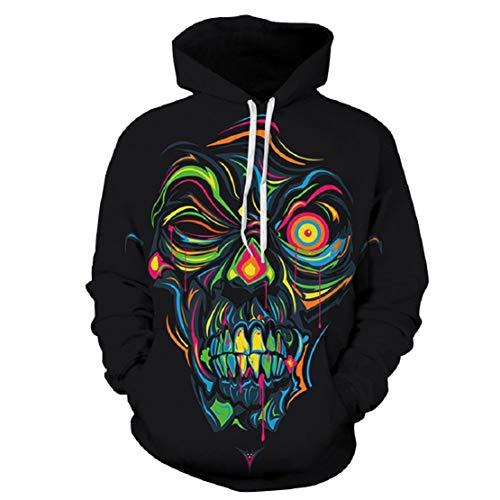 Bluelucon Damen Herren Sweatshirt Halloween Thema Sweatshirt Horror 3D Druck Kapuzenpullover Lustige Festival Party Kleidung Skeleton Horror (Erschreckt Kostüm)