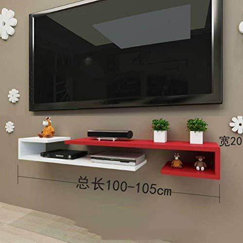 BinLZ Wandmontage Laminat Tv-Schrank Farbe Set-Top-Box Rahmen Wanddekoration Modernen Minimalistischen Versenkbaren Rack Wandbehang, Red White