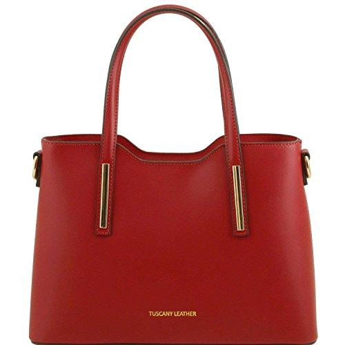 Tuscany Leather - Olimpia - Sac cabas en cuir Ruga - Petit modèle - Rouge foncé