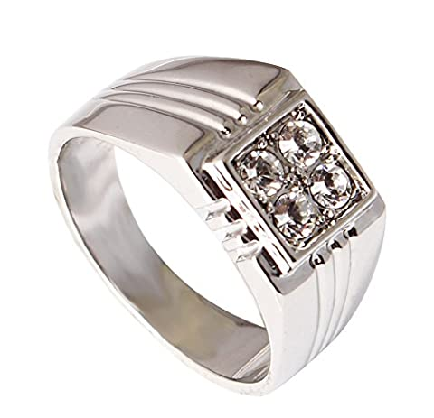 Acefeel Father's Day Gift Square Shape Wide Ring Inlaid Austrian Crystal Mens Wedding Ring R245 Size 12.75