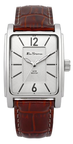 Ben Sherman Men's Quartz Watch with Silver Dial Analogue Display and Brown Plastic Strap BS037