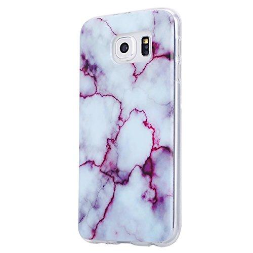 Coque Galaxy S6, Étui Galaxy S6, ISAKEN Coque Samsung Galaxy S6 - Étui Housse Téléphone Étui TPU Silicone Souple Coque Ultra Mince Gel Doux Housse Motif Arrière Case Antichoc Doux Durable Résistant Au marbre: violet