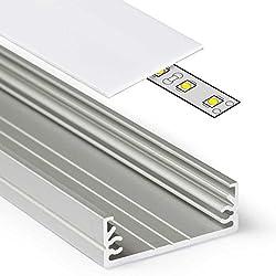2m Aluprofil WIDE (WI) 2 Meter Aluminium Profil-Leiste eloxiert für LED Streifen - Set inkl Abdeckung-Schiene milchig-weiß opal mit Montage-Klammern und Endkappen (2 Meter milchig slide)