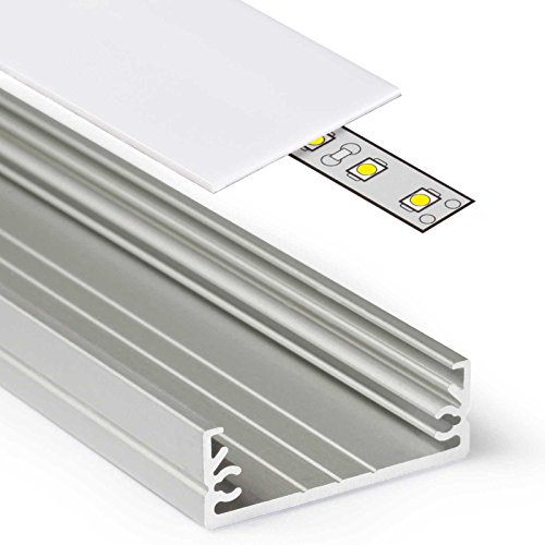 2m Aluprofil WIDE (WI) 2 Meter Aluminium Profil-Leiste eloxiert für LED Streifen - Set inkl Abdeckung-Schiene milchig-weiß opal mit Montage-Klammern und Endkappen (2 Meter milchig slide) -