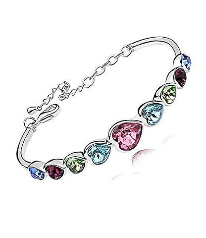 Lily Jewellery Lucky Waltz 7 Rainbow Color Swarovski Elements Crystal Love Heart Bracelet for Women (6cm Diameter)