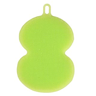 Awhao Antibacterial Silicone Dish Scrubber Sponge Brush for Dishwashing Multi-purpose Cleaning Such as Makeup Brush Cleaner Soldering Tip Cleaner