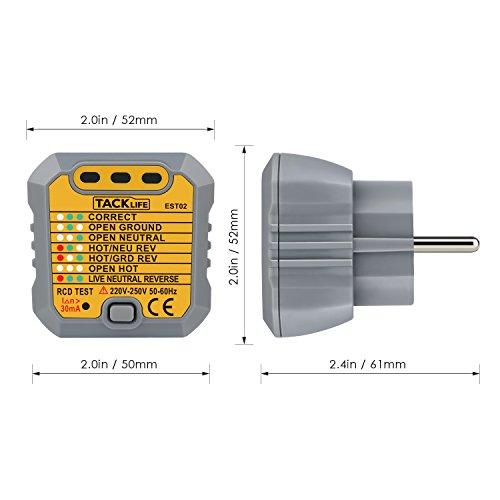 Tacklife EST02 Avanzado comprobador de enchufes  testeador del cableado eléctrico  probador del zócalo de corriente para circuitos eléctricos meter tester polaridad neutro y tierra   1 pieza
