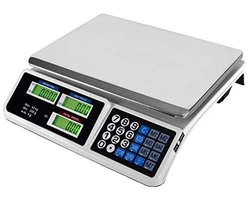 JeVx Bascula Comercial de 40kg 3 EN 1 con BATERIA Recargable y Enchufe 220V Precision 5 a 5 Gramos Frutera...