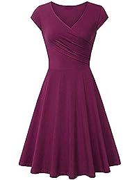 Kleider Damen Pullover Kleid Elegant Brautjungfernkleid Lange Ärmel Petticoat Ballkleid Hepburn Herbst Winter, Fashion A Line V-Ausschnitt Kurzarm Abendkleid