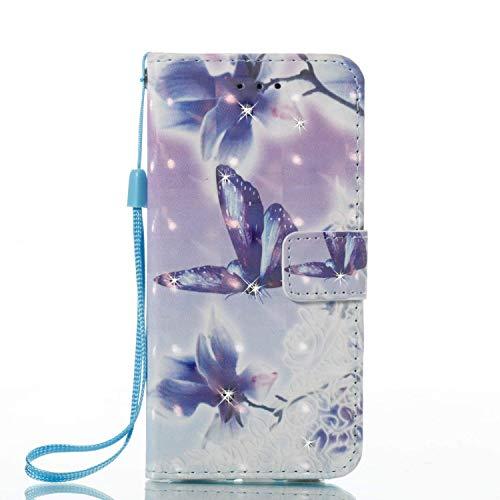 Felfy Kompatibel mit Hülle iPhone SE / 5S / 5 Schutzhülle Leder Magnet Tasche Leder Premium PU Leder Flip Tasche Case mit Integrierten Kartensteckplätzen mit Bing Glizter Diamant Strass,Blaue Blume