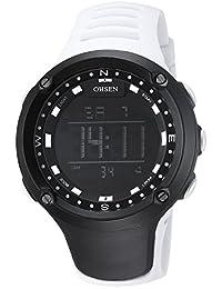 OHSEN Homme Femme Montre Sports étanche Jeunesse Digitale Montre Bracelet avec Chronomètre Alarme EL Rétroéclairage - Blanc