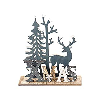 Amosfun Adorno de Escritorio de Madera de Navidad Lindo Alce árbol de Navidad Cartel de Placa de Madera decoración de Fiesta de Navidad Suministros Accesorios de fotografía