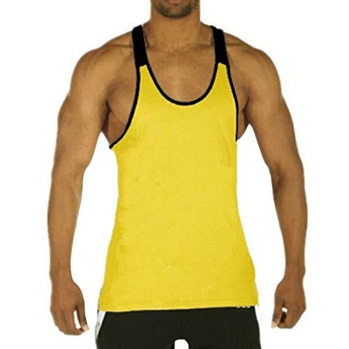DEELIN Männer Einfarbige Rundhals die Streifen-Sportweste gestreiftes Splice große offen-gegabelte männliche Weste ()