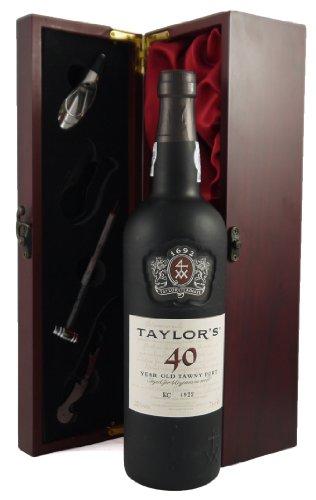 Taylor's 40 year old Tawny Port 75CL in Weinschatulle ,Satin ausgekleidet ,mit vier Wein Accessoires ,Korkenzieher ,Giesser ,Kapselabschneider ,Weinthermometer .