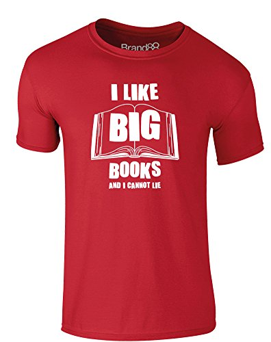 Brand88 - I Like Big Books and I Cannot Lie, Erwachsene Gedrucktes T-Shirt Rote/Weiß