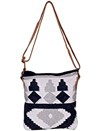 IndiWeaves Women Vintage Handmade Kilim Leather Handle Cross Body Sling Bag