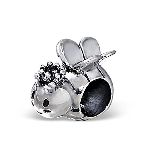 Silvadore - Silver Bead - Queen Bee Bumble Honey Plain Fly Design - 925 Sterling Charm 3D Slide On 439 - Fits Pandora European Bracelet - Free Gift Boxed