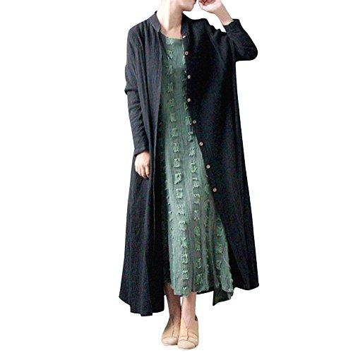 Camicia donna,meibax cappotto donna elegante,cardigan maxi jacket coat,bottone in cotone solido,manica lunga,cappotto invernale,lino sexy casual tops camicetta plus size
