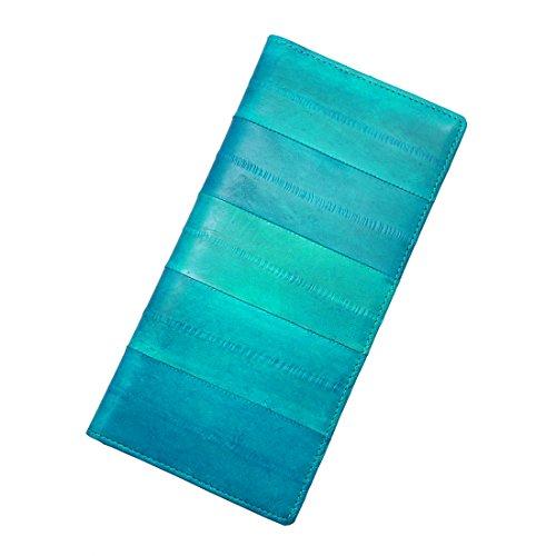 Vidlea Geldbörse aus echtem Aal-Design, lang, schmal, faltbar, für Kreditkarten und Münzen - Blau - Lange -